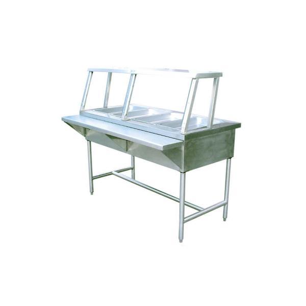 Mesa caliente con 4 insertos enteros y patas