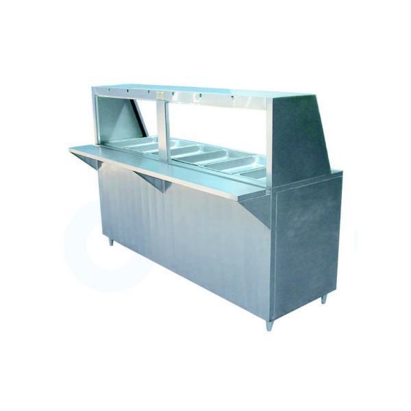 Mesa fría con 6 insertos enteros en acero inoxidable