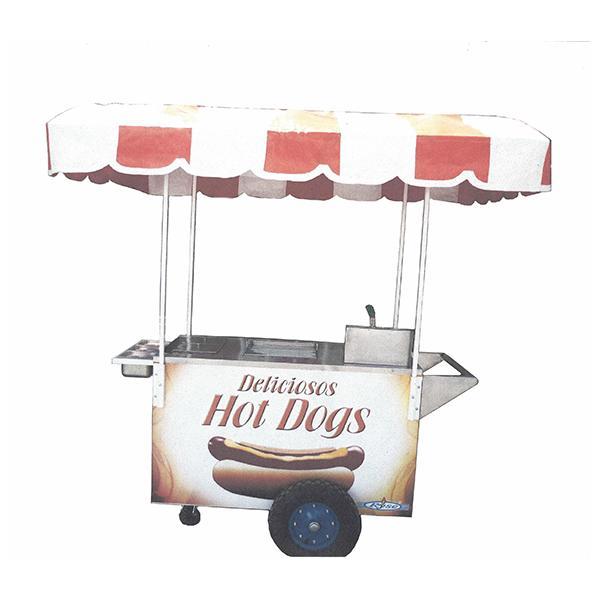 Carro económico de hot dogs y hamburguesas