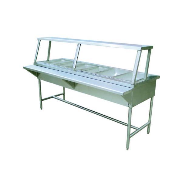 Mesa caliente con 6 insertos enteros y patas